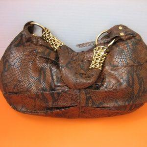 Handbags - Women's Brown Snake Print Polyester Shoulder Bag